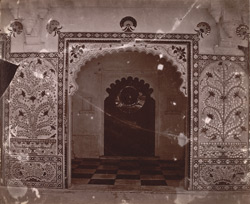 Close view of an arch of the Manak Mahal in the north range of Mor Chowk, City Palace, Udaipur